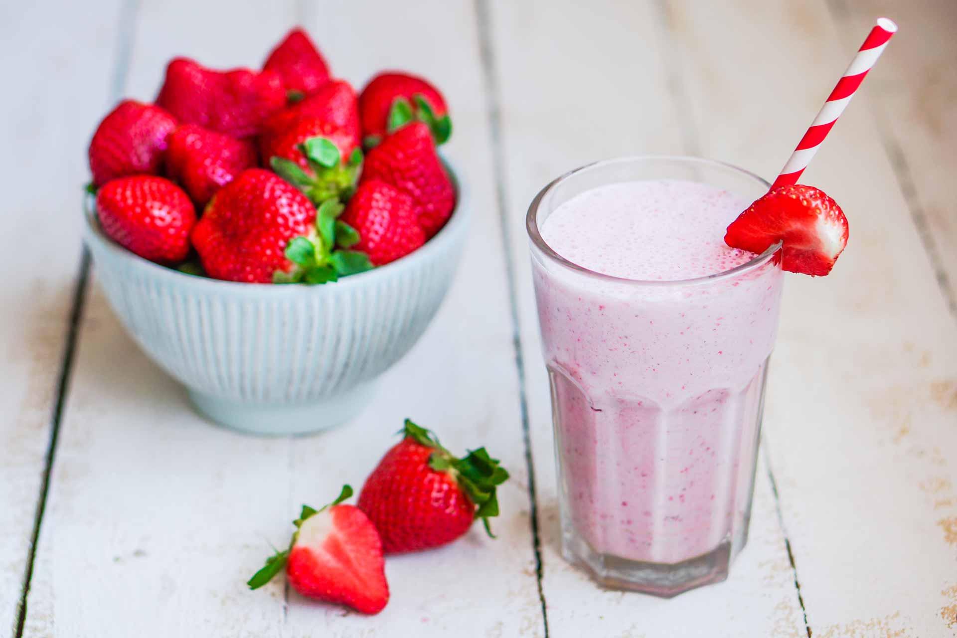 home made strawberry milkshake