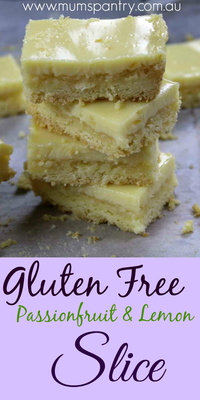 gluten free passionfruit and lemon slice