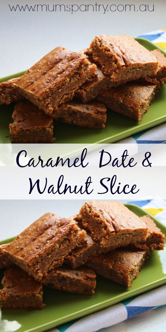 caramel date and walnut slice