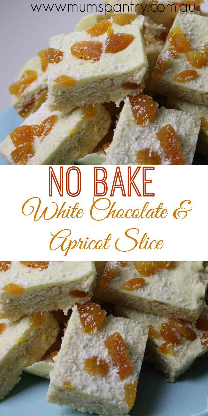 no bake white chocolate and apricot slcie