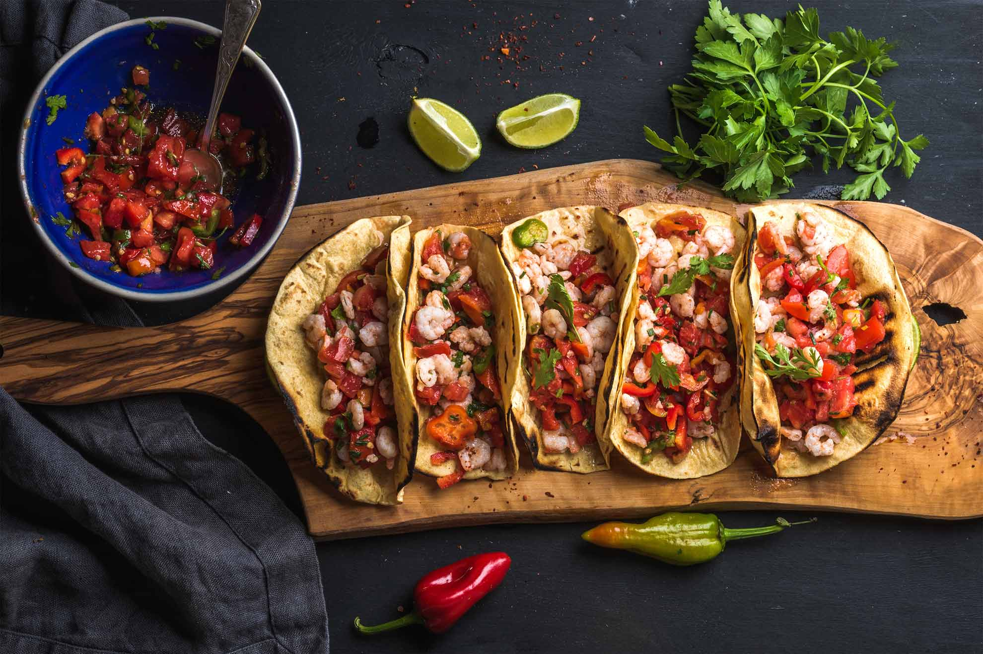 prawn-tacos-with jalapeno peppers