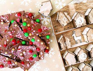 Christmas, chocolate bark, m&ms