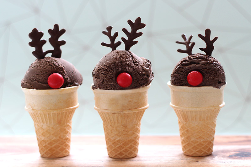 Rudolph reindeer ice cream cones