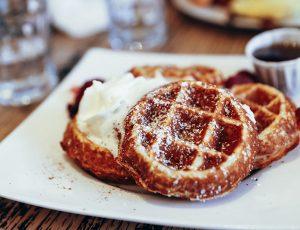 breakfast, waffles