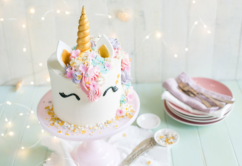 pretty pastel unicorn birthday cake
