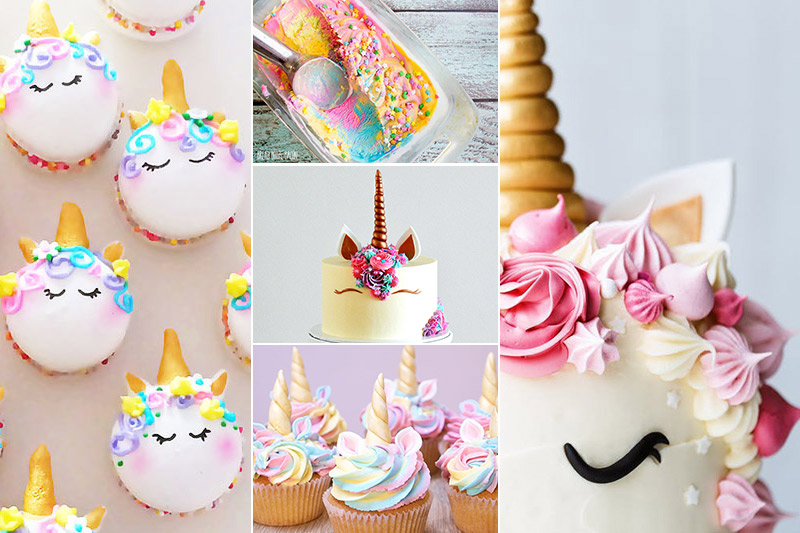 unicorn cakes and unicorn party food