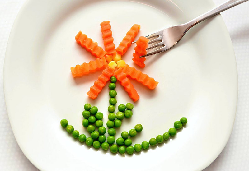 peas, carrot, corn, food, plate, fork