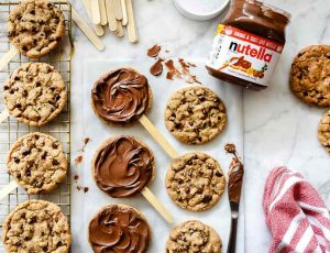 Nutella, chocolate chip cookies, pops World Nutella Day
