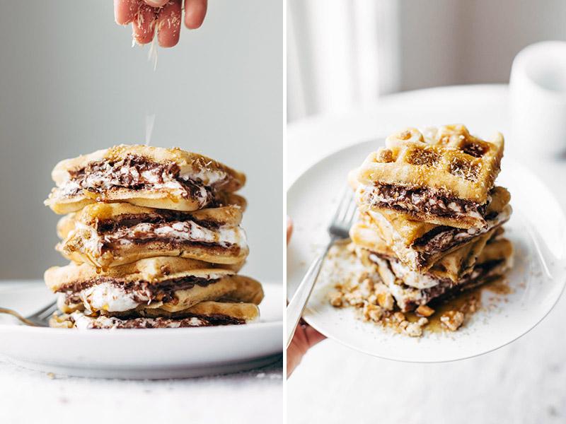waffles, nutella
