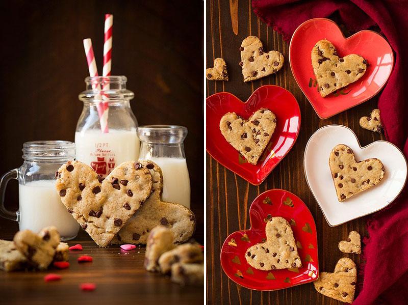 heart choc chip blondies for Valentine's Day