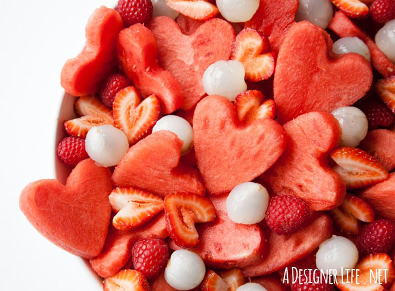 heart shaped fruit salad Valentine's Day recipes