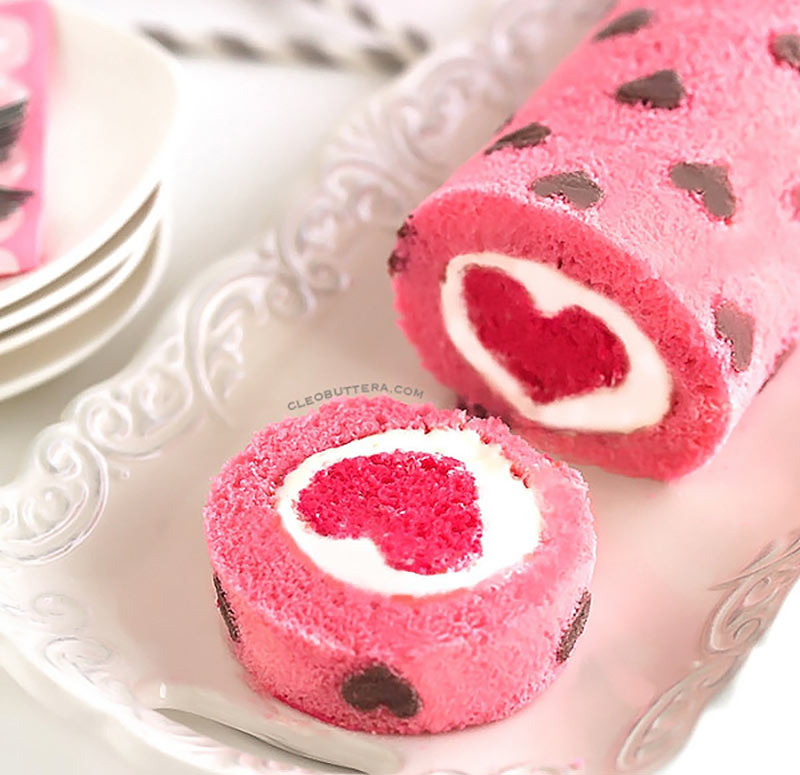 rolled heart cake