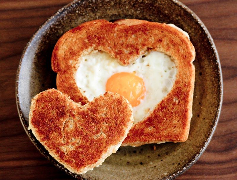 Valentine's Day breakfast heart eggs