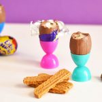 Cadbury Cream Eggs and Scotch Finger Soldiers
