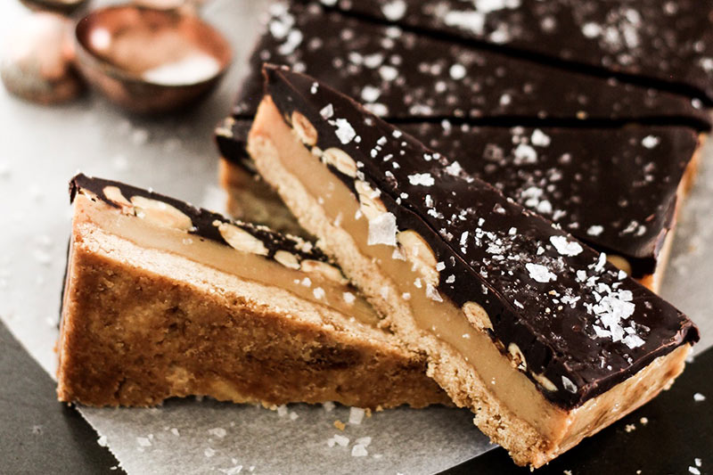 Chocolate peanut caramel slice
