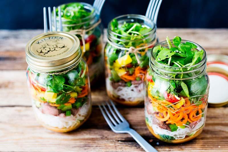 thai beef noodle salad jar