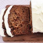 Carrot and date loaf with cream cheese icing