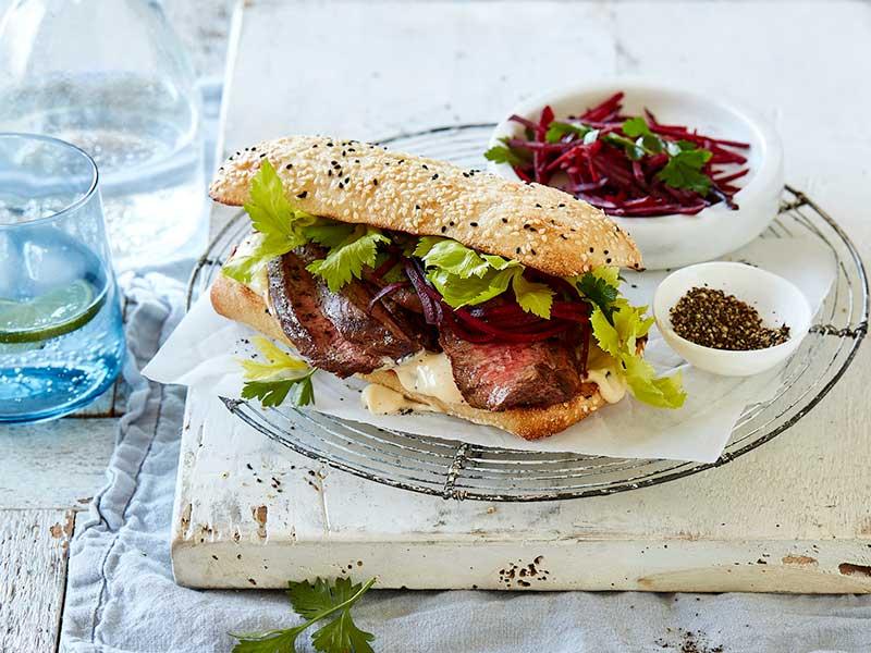 horseradish and beetroot steak sandwich
